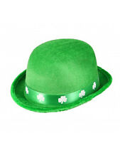 Fancy Dress Irish Green Felt Bowler Hat Shamrock St Saint Patricks Day Ireland