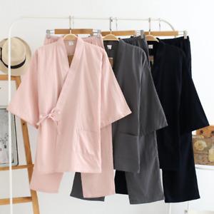 Women Men 100% Cotton Japanese Kimono Robe and Pants Loose Set Pajamas