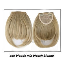 Real Thick Straight Bang Clip in on Fringe Hair Extensions 2Clips Hairpiece hg80