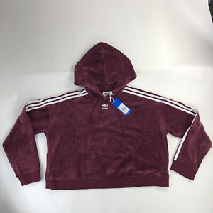 New Adidas Original Cropped Hoodie Maroon Sweatshirt Women Size Large DH3115