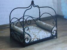 "NEW IN BOX CANOPY DOG BED 24""W x 18""D x 28""H DAMASK CUSHION 2 BOLSTER PILLOWS"