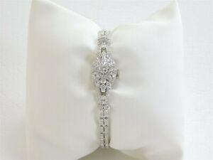 Platinum Hamilton 22JL Diamond Studded Watch Vintage 4.8 CWT Bracelet DA0935