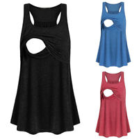 Women Maternity Nursing Casual Vest Tank Sleeveless Top Breastfeeding Blouse Tee