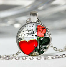 Heart Red Tibet silver Dome Glass Cabochon Necklace chain Pendant #237