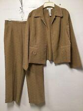 Womens Pant Suit Set Size 14 Light Brown Open Jacket Sag Harbor 193