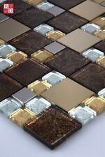MOSAICO DE VIDRIO ACERO INOX mosaikglas azulejos ORO PLATA braun1m ²
