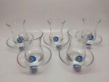 MCM PASABAHCE Turkish Traditional Tea Serving Set Glasses Saucers - Set of 5