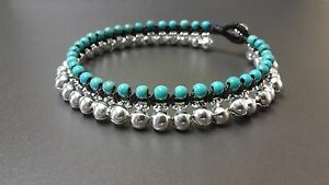 Silver  Bell Turquoise Anklet