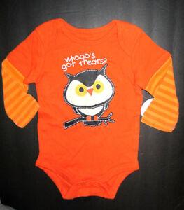 New Halloween size 3-6 Months One piece WHOOO'S GOT TREATS Owl Bodyshirt NWT