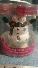 Yankee Candle Snowman Tea Light Candle Holder 4 Sparkling Cinnamon Candles NEW