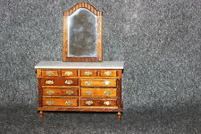 VINTAGE WOOD DOLL HOUSE FURNITURE DOUBLE CHEST OF DRAWERS W/ MIRROR FAUX MARBLE