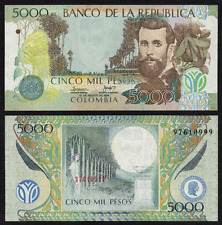 COLOMBIA 5000 5,000 PESOS 2009 ERROR w/ SERIALS PRINTED ON BACK PICK 452k UNC