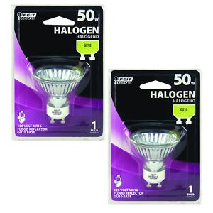 Feit 50 Watt Flood Lamp Halogen Reflector Bulb, MR16, BPQ50MR16/GU10- 2 PACK