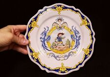Antique 19th or early 20th c.Continental Majolica Faience Plate Man with Sword