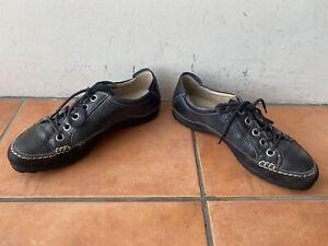 Super Comfy ECCO Size EU 38 AU 7 Black Leather Lace Up Shoes