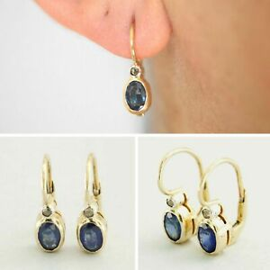 14ct Yellow GOLD Natural Blue SAPPHIRE and DIAMOND Drop Antique Style Earrings