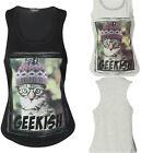 Womens Black Grey Racer Style Vest T Shirt Top Kitten in Glasses Sz 8 10 12 14