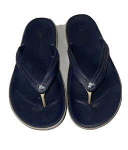 Crocs Unisex Crocband Flip Flop Sandals Sz Mens 10 Womens 12 Navy FLAW