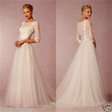 New Tulle Appliques Wedding Dresses Bridal Gown Custom Size 4 6 8 10 12 14 16 18
