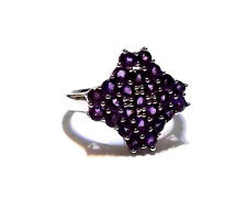 10K White Gold Purple Amethyst Round Cluster Ring, Size 7, 2.00(TCW), 4.6GR