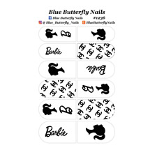 1236 - Barbie Black on Clear #1 Nail Water Decal Stickers Slider Transfer