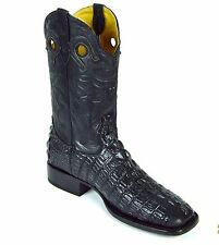MEN'S WESTERN COWBOY BOOTS RODEO SQUARE TOE BLACK/ BROWN CROCODILE PRINT