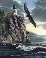 WILDLIFE ART PRINT Lighthouse Cliff by Kevin Daniel Eagle Seascape Poster 29x37