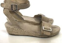 Franco Sarto Size 8M Espadrille Leather Sandals Tan Beige Ankle Strap Buckle