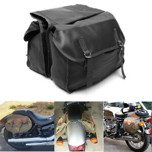 Canvas+Leather Motorcycle Saddle Bag Rear Tail Side Bags For BMW Honda Suzuki