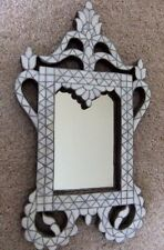 Rare Handcrafted Syrian Mother of Pearl Inlaid Wood Wall Mirror