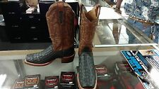 Crocodile Chocolate/Black Cattle Baron By Double H Print Square Toe Cowboy Boot!
