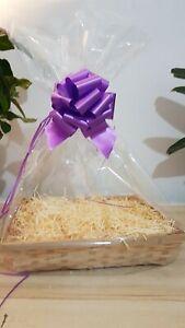 Clear Cellophane Basket/Hamper Bag 70cm x 90cm & Pull Bow (Purple)50mm WRAPP