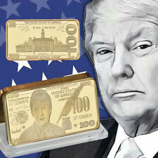 WR Donald Trump Gold Plated Bullion $100 Dollar Art Bar US President Coin Gifts