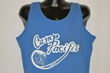 vtg 80s CAMP PACIFIC STAFF SURFER WAVE BEACH BLUE TANK TOP SURFING t-shirt XL