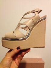 PRADA Miu Miu Beige Tan Wedges Platform Silver Summer Sandal Sz 41 M NWB