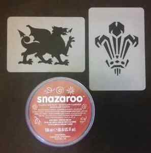 Welsh face paint set inc stencil & paint rugby Wales  feather dragon World Cup