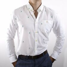 NWT Tommy Hilfiger Men's Linnen & Cotton Blend Slim Fit White Palms Decor Size M