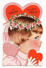 Vintage Greetings Valentine Greeting Card Die Cut Girl Holding Heart Rose Crown