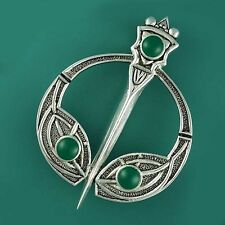 Silver Celtic TARA Brooch Scarf Kilt Dancing Pin with Green Agate