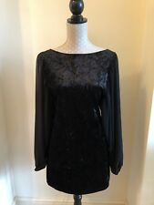 NEXT - Stunning Black Velvet & Chiffon Sleeve Mini Dress - Size UK 10