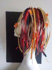 Wool Dreads short hair falls warm blonde red browns, festival flowers kawaii