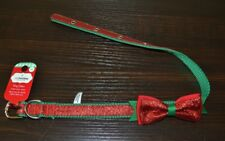"""Medium Dog Collar Christmas Red Glitter with Bow 3/4"""" Nylon Neck Size 14"""" to 20"""""""