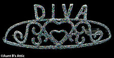 Tiara Diva Metal Silver Sparkle Glitter Costume Tiara With Combs