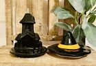 New RAE DUNN  Haunted House & Witch Hat Halloween Mug/Candle Topper Bundle