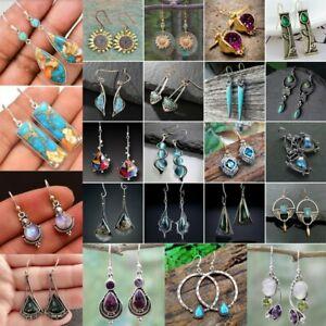 925 Silver Turquoise Moonstone Earrings Pearl Ear Hook Dangle Drop Retro Jewelry