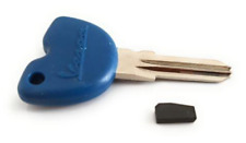 Uncut Key Blank for Vespa GTS GTV, GT 125, 200 250,300 + Transponder Chip.spare
