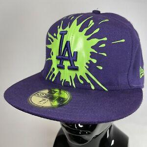 New Era LA Dodgers Purple & Green Paint Splatter Baseball Cap Hat 7 1/2 VGC RARE