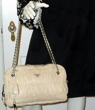 REDUCED $300   Ruched LEATHER PRADA Shoulder Handbag in Ivory / Winter White