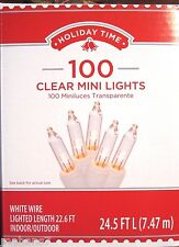 Holiday Time 100 Clear Mini Lights, White Wire Lighted Length 22.6 ft