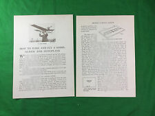 How to make and Fly a model glider and tractor monoplane vintagve early flight